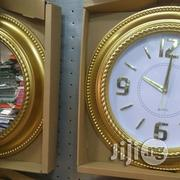 Set Of Round Golden Clock And Mirror/Gift Set. | Home Accessories for sale in Lagos State, Lagos Island