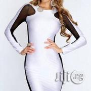 White Black Long Sleeve Sex Side Mesh Body Con Party Dress | Clothing for sale in Abuja (FCT) State