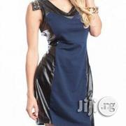 Navy Studded Decor Faux Leather Dress | Clothing for sale in Abuja (FCT) State