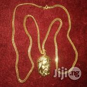 Tested 18karat Gold Necklce Cuban Design With Jesus Piece Pendant | Jewelry for sale in Lagos State, Lagos Island