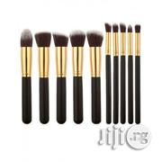 10 Pieces Professional Kabuki Makeup Brush Set -black/Gold | Makeup for sale in Lagos State