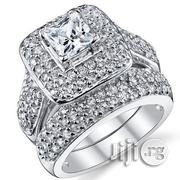 AAA Zircon Micro Paved Silver Wedding Engagement Rings 03 in a Box | Wedding Wear for sale in Lagos State, Lagos Mainland