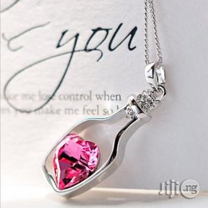 Heart Crystal Pendant & Necklace-Pink