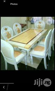 High Quality Royal Marble Dining Table With Six Durable Leather Chairs | Furniture for sale in Lagos State, Lekki Phase 1