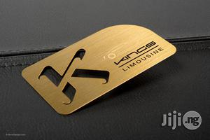 Metal Business Card Using Advertising Messages And Companies Logo