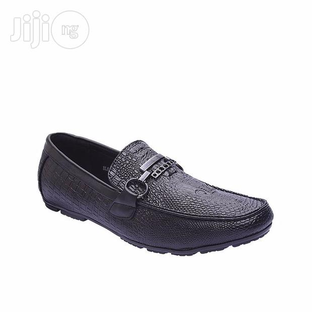 Chained Crocodile Leather Loafers Moccasin Black