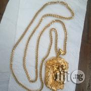 Pure 18krt Gold Necklace Frnco Design Wit Jesus Piece Pendant | Jewelry for sale in Lagos State, Lagos Island