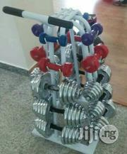 Complete Set Of Iron And Rubber Dumbbells And Rack All Size | Sports Equipment for sale in Lagos State, Ikeja