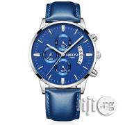 Men's Luxury Fashion 3ATM Analog Quartz Blue Leather Strap Watch | Watches for sale in Lagos State, Ikeja