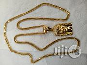 Pure 18karat Solid Gold Necklace Cuban With Jesus Piece Pendant | Jewelry for sale in Lagos State, Amuwo-Odofin