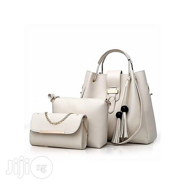 Set of 3 in 1 Leather Handbag With Chain Purse Cream White Hand Bag