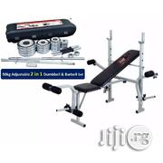 Weight Bench With 50kg Adjustable 2 in 1 Dumbbell and Barbell Set | Sports Equipment for sale in Lagos State, Surulere