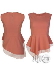 Asymmetric Zipped Peplum Top - Peach | Clothing for sale in Lagos State, Lagos Mainland