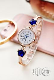 JW Ladies Wrist Watch With Royal Blue Studs - Rose Gold | Watches for sale in Lagos State, Agege