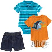 Garanimals Baby Boy 3-Piece Graphic Applique Top, Striped Polo Bodysuit and Denim Shorts Set   Baby & Child Care for sale in Lagos State, Alimosho