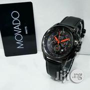 Movado Chronogragh Black Crystal Genuine Leather Strap Watch   Watches for sale in Lagos State, Surulere