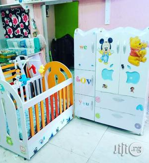 Baby Cot And Matching White Drawer