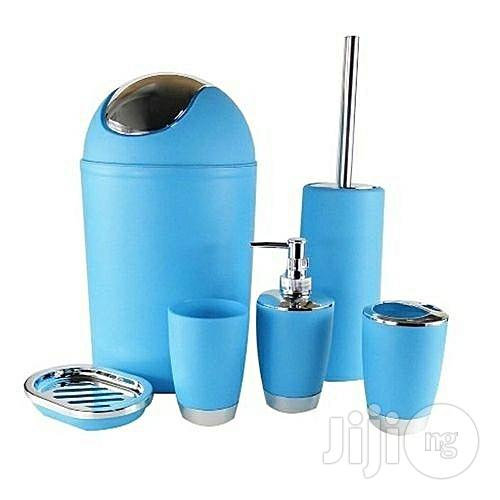 6 Pieces Bathroom Accessories Set - Blue