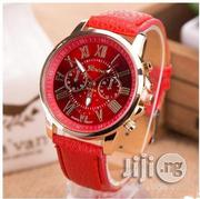 GENEVA 9701 Red Leather Strap Unisex Wrist Watch | Watches for sale in Lagos State, Surulere