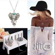 Vintage Bohemian With Blue Stone Elephant Pendant Necklace   Jewelry for sale in Lagos State, Ikorodu