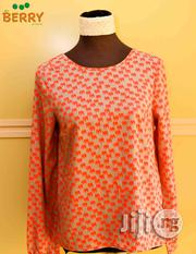 Moon Collection Orange & Grey Top With Bow At The Back Large | Clothing for sale in Lagos State, Surulere