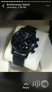 Emporio Armani Black Crystal Genuine Leather Strap Chronogragh Watch   Watches for sale in Lagos State, Surulere