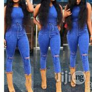 Bodycon Jean Knee Ripped Jumpsuit With Waist Band | Clothing for sale in Lagos State, Ikorodu
