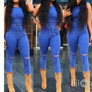 Bodycon Jean Knee Ripped Jumpsuit With Waist Band