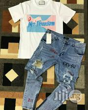 Gucci Ripped Jeans and Top | Clothing for sale in Lagos State, Ojo