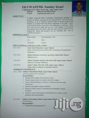 Sunday Oluwafemi Israel | Clerical & Administrative CVs for sale in Lagos State, Agege
