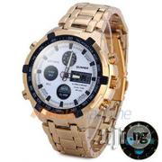 Quamer Gold Plated White Face Led Digital Quartz Wrist Watches | Watches for sale in Lagos State, Surulere