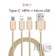 3 In1 Fast Charging Cable For iPhone, Android, Type C - 1m | Accessories for Mobile Phones & Tablets for sale in Lagos State, Ikeja