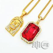 Gold Chains With Jesus Piece Red Ruby Onyx Pendants | Jewelry for sale in Lagos State, Mushin