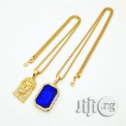 Gold Chains With Jesus Piece and Blue Ruby Onyx Pendants | Jewelry for sale in Lagos State, Mushin