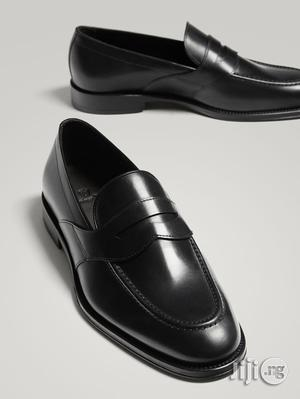 Massimo Dutti - Black Leather Penny Loafers