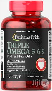 Puritans Pride Triple Omega 3,6,9 Fish and Flax Oil -120softgels   Vitamins & Supplements for sale in Lagos State, Surulere