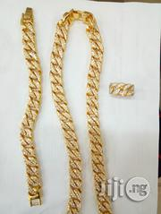 Studded 6MM 60CM Men's Cuban Chunky Neck Hand Chain - Gold | Jewelry for sale in Lagos State, Ojodu