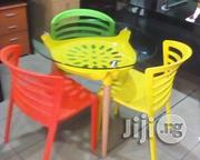 Restaurant Round Glass Table With 3 Plastic Fiber Chairs | Furniture for sale in Lagos State, Ojo