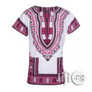 African Print Traditional Danshiki -White Pink | Clothing for sale in Lagos State, Lagos Island