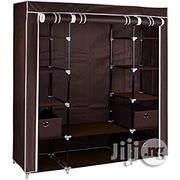 Home Large Brown Fabric Canvas Bedroom Wardrobe With Hanging Rail Shelving Clothes Storage Cupboard Unit | Furniture for sale in Lagos State, Lagos Island