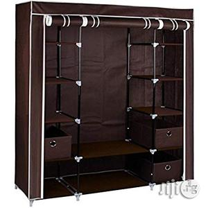 Home Large Brown Fabric Canvas Bedroom Wardrobe With Hanging Rail Shelving Clothes Storage Cupboard Unit