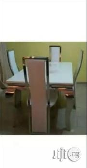Strong And Durable Marble Dining Table With 4 Strong Leather Chairs | Furniture for sale in Lagos State, Ikeja