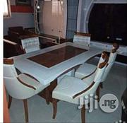 Pure Marble Dining Table With Six Durable Leather Chairs Brand New | Furniture for sale in Lagos State, Ikeja