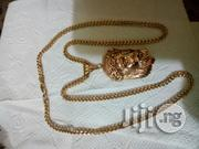 Original 18karat Gold Necklace Franco Design With Jesus Piece Pendant | Jewelry for sale in Lagos State, Lagos Mainland