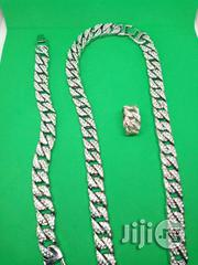Studded 6MM Men's Cuban Chain Neck With Hand Chain & Ring - Silver   Jewelry for sale in Lagos State, Ikeja