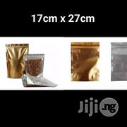 17 X 27cm Clear Front & Gold Aluminum Foil Stand-up Ziplock Pouch | Manufacturing Materials & Tools for sale in Lagos State, Lagos Mainland