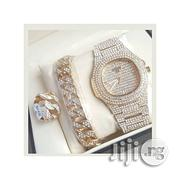 Fashion Men's Gold Wristwatch, Bracelet And Ring With Stones | Jewelry for sale in Lagos State, Ikeja