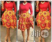 Red Plain Material With Ankara   Clothing Accessories for sale in Lagos State, Ojodu