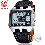 OHSEN Quartz Digital Watch Men Business Watch Date Day Alarm Leather | Watches for sale in Rivers State, Port-Harcourt