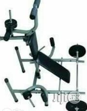 American Fitness Weight Bench With 45kg Bar Bell | Sports Equipment for sale in Abuja (FCT) State, Jabi